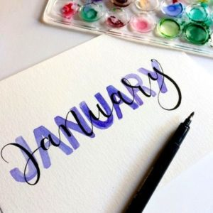 January written in calligraphy