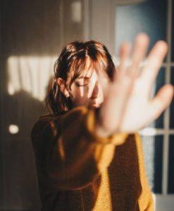 film grain photo of girl with light leaks